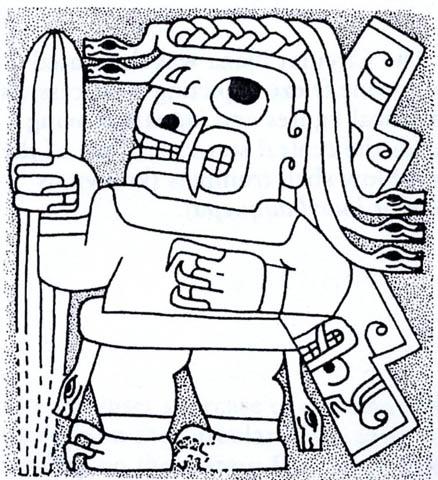 Рис. 14. Шаман в состоянии транса с галлюциногенным кактусом Сан Педро в руке.